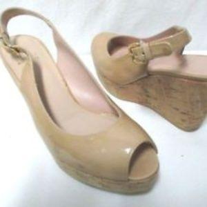 Stuart Weitzman patent leather cork sandals Sz 8.5